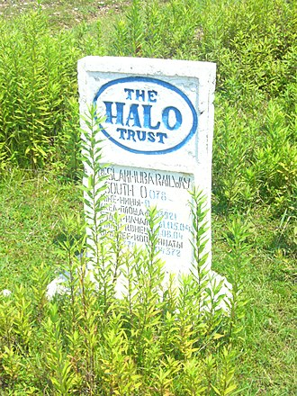 HALO Trust - The stone installed by HALO Trust after checking the territory for mines, Ochamchira district, Abkhazia