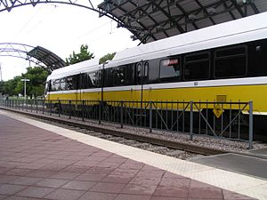 Hampton station (DART) - A southbound train at the station