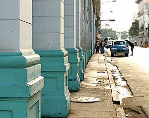 Street-view in Havanna main street, with many ...