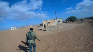 Tahrir al-Sham - Fighters of Tahrir al-Sham in the village of Mushairfa, northeast of Hama, during the northeastern Hama offensive in October 2017.