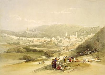 An 1839 drawing of Hebron by David Roberts, in The Holy Land, Syria, Idumea, Arabia, Egypt, and Nubia Hebron - Roberts 1839.jpg