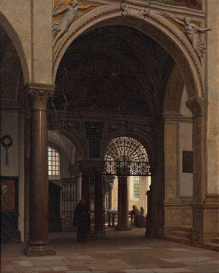 The interior of the church of Santa Maria Sopra Minerva in Rome