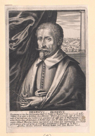 Hendrik Hondius I - Hendrik Hondius in Het Gulden Cabinet from 1662, engraving by Frederik Bouttats the Younger