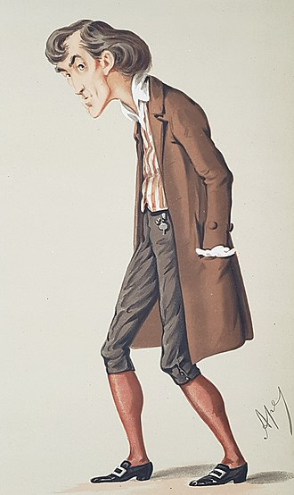 Henry Irving - Caricature (by Ape) of Irving in The Bells. Vanity Fair, 19 December 1874.