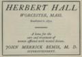 "Herbert Hall (""American medical directory"", 1906 advert).png"