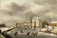 Hermanus Numan - IJsvermaak op de stadsgracht buiten de Heiligewegspoort (1808).jpg