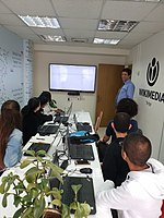 High-school students Wikidata workhsop at WMIL offices.jpg
