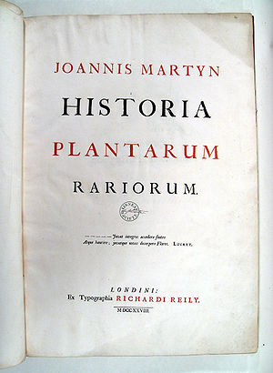 John Martyn (botanist) - Image: Historia Plantarum Rariorum 00