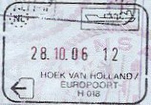 Hook of Holland - Passport stamp issued at the ferry terminal to passengers to/from the UK