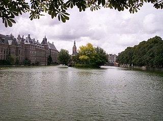 Hofvijver pond in The Hague, Netherlands