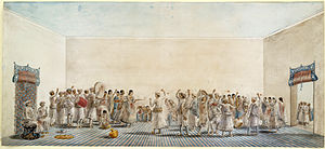 Holi being played in the courtyard, ca 1795 painting