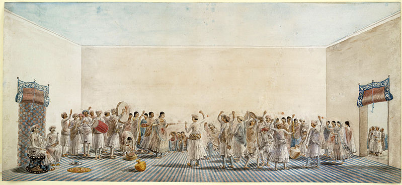 Holi being played in the courtyard, ca 1795 painting. Courtsey: www.bl.uk/onlinegallery
