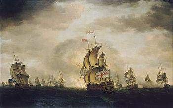 Zeeslag bij Kaap St. Vincent, door Francis Holman