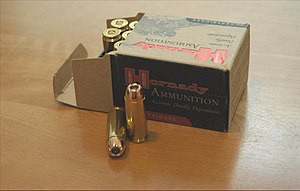 .50 Action Express - Box of Hornady .50 AE 300-grain jacketed hollow point ammunition