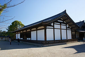 Hidden roof - Hōryū-ji, Denpō-dō. The tsumakazari, all structural elements in this case, are visible within the gable.