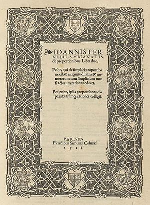 Jean Fernel - De proportionibus libri duo (1528)