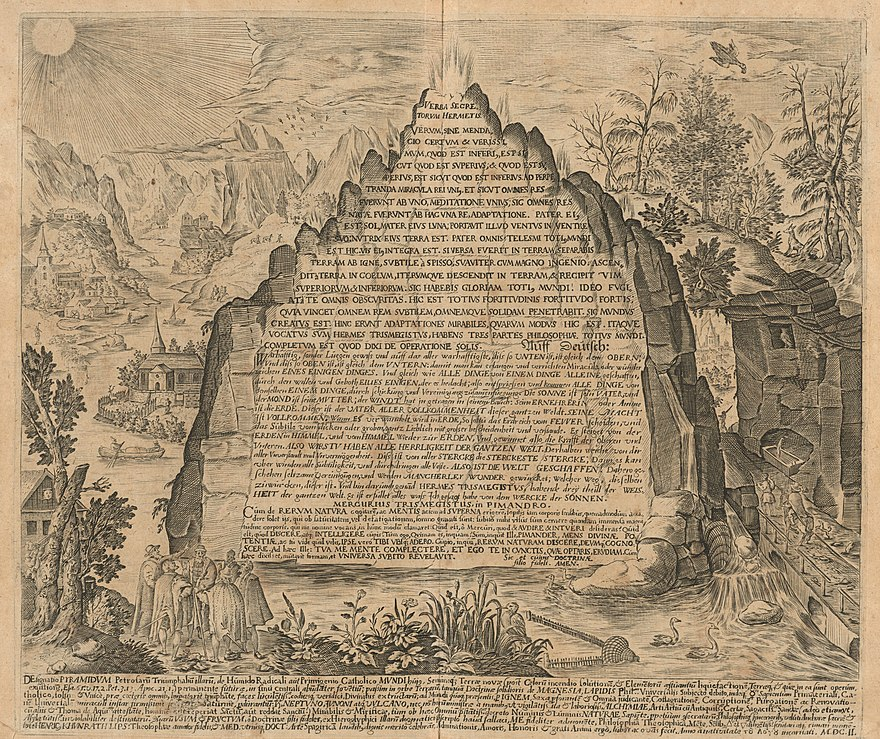 An imaginative 17th century depiction of the Emerald Tablet from the work of Heinrich Khunrath, 1606.