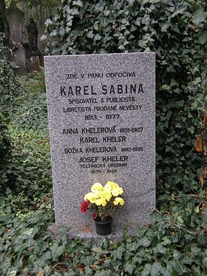 Karel Sabina - Tomb of Karel Sabina on Olšany Cemetery in Prague