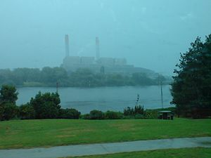 Huntly Power Station - The station in the rain from State Highway 1.