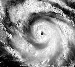 Hurricane Linda (1997) - Visible satellite image of Hurricane Linda's eye near peak intensity