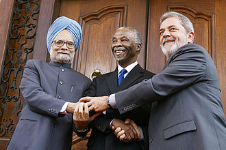 IBSA Dialogue Forum - Indian PM Manmohan Singh with South African President Thabo Mbeki and Brazilian President Luiz Inácio Lula da Silva during the IBSA Summit, 2007.