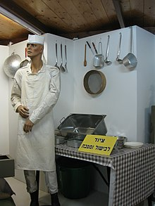 A museum mannequin standing in front of a table set with various kitchen utensils, with more kitchen utensils hanging from the wall behind