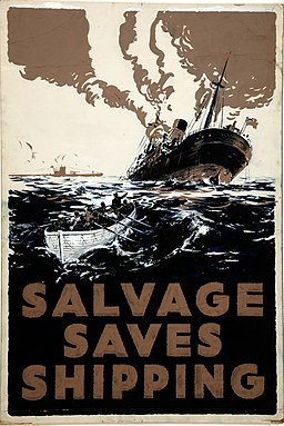 INF3-207 Salvage Salvage saves Shipping (torpedoed ship sinking) Artist E Oliver