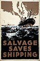 INF3-207 Salvage Salvage saves Shipping (torpedoed ship sinking) Artist E Oliver.jpg
