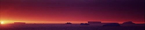 Tabletop icebergs in Antarctica.
