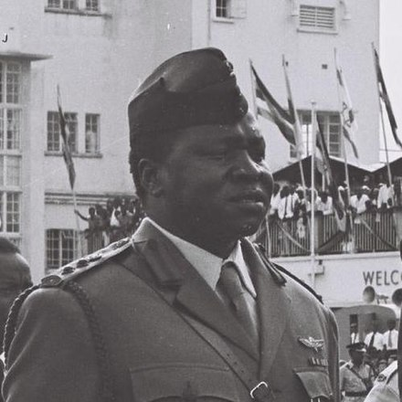Idi Amin in 1966. Butabika reportedly convinced him at gunpoint to become President of Uganda during the 1971 Ugandan coup d'état. Idi Amin en 1966.jpg
