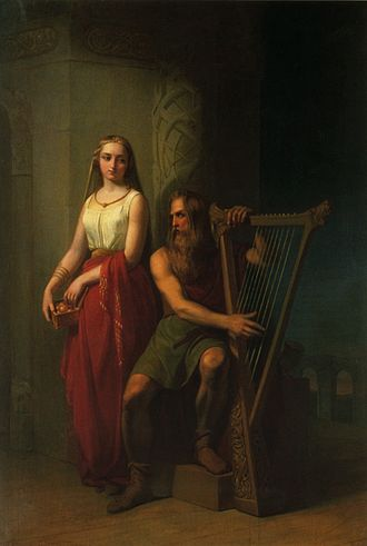 Bragi - Bragi is shown with a harp and accompanied by his wife Iðunn in this 19th-century painting by Nils Blommér.