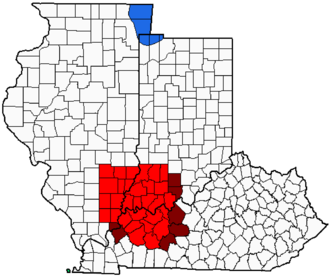 Illinois-Indiana-Kentucky tri-state area - Image: Illinois Indiana Kentucky Tri State Area imposed over WTVW Viewing Area Map 2