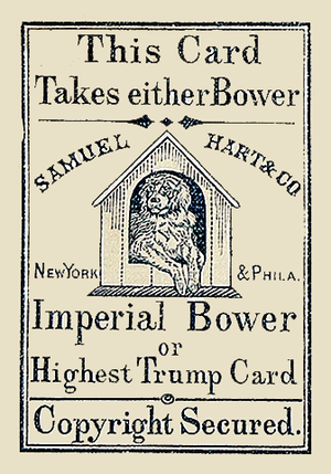 Joker (playing card) - Imperial Bower, the earliest Joker, by Samuel Hart, c. 1863.