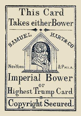 Joker (playing card) - Imperial Bower, the earliest Joker, by Samuel Hart, c. 1863.