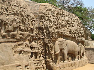 Descent of the Ganges (Mahabalipuram) - Detail of the relief