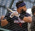 Indians DH Carlos Santana takes BP before Game 1 of the -WorldSeries. (30538003716).jpg
