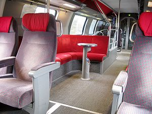 Inside of double deck intercity (first class),...