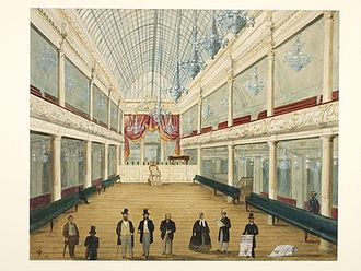 London Pavilion - Interior of the newly opened London Pavilion Music Hall, 1861. Sonnhammer and Loibl are probably the figures in top hats at the front.