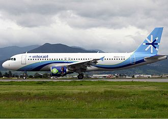 Interjet - An Interjet Airbus A320, performing its first biofuel flight, seen in July 2011