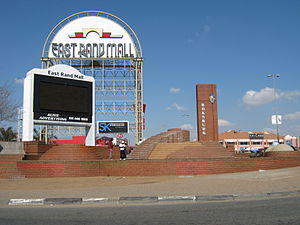 Boksburg - A fountain and welcome sign to Boksburg in front of the East Rand Mall
