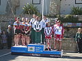 Island Games 2011 women's team Town Centre Criterium cycling medal ceremony.JPG