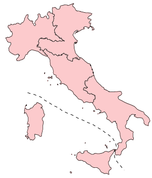 European Parliament election, 2004 (Italy) - The five constituencies for European elections