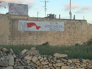 Maltese spring hunting referendum, 2015 - Banner in favour of spring hunting in Naxxar road