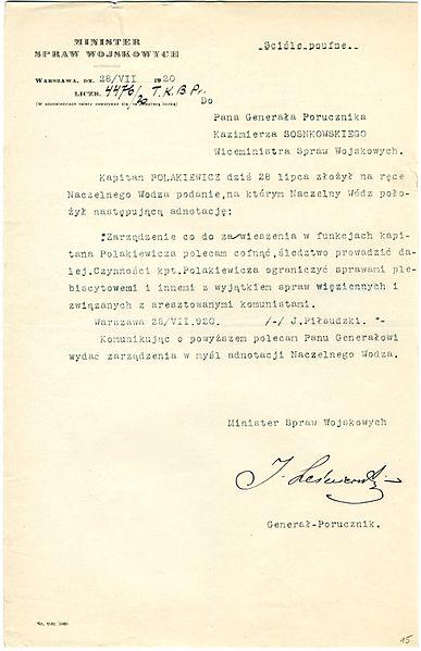 File:Józef Leśniewski - Rozkaz w sprawie Karola Polakiewicza - 701-001-057-015.jpg