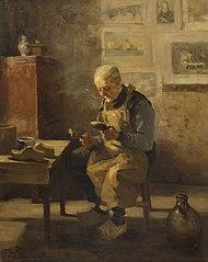 Een oude man schoenen reparerend