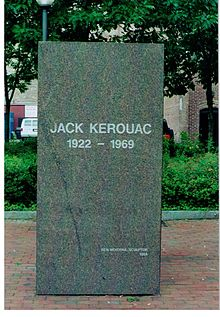 Memorial stone of the author Jack Kerouac in the city of Lowell, Mass. (USA)