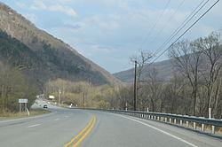 Along U.S. Route 22 in Jacks Narrows, where the Juniata River pierces Jacks Mountain