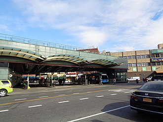 Jackson Heights–Roosevelt Avenue/74th Street (New York City Subway) - The Victor A. Moore Bus Terminal attached to the station