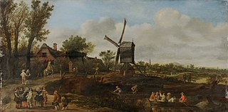River Landscape with Windmill and boats