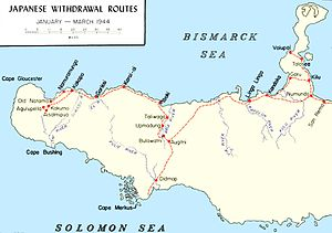 Map of western New Britain with tracks and settlements involved in the Japanese withdrawal marked on it